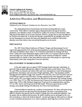 Addiction Disorders and Homelessness Factsheet