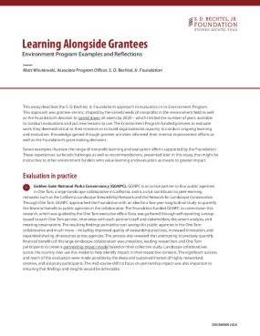 Learning Alongside Grantees: Environment Program Examples and Reflections